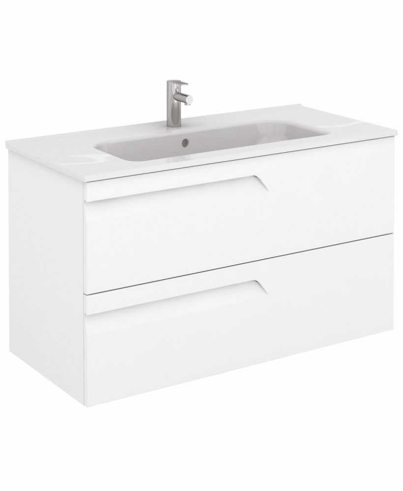 Pravia White 100 cm Wall Hung Vanity Unit and SLIM Basin
