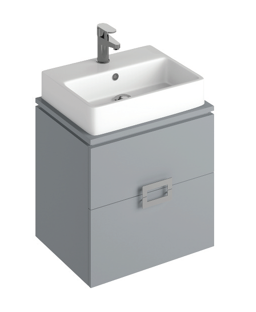 Ava Pearl Grey 55 cm Wall Hung Vanity Unit and BROOK Countertop Basin