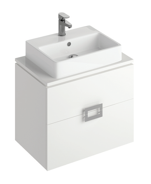 Ava White 65 cm Wall Hung Vanity Unit and BROOK Countertop Basin