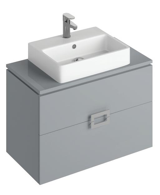 Ava Pearl Grey 80 cm Wall Hung Vanity Unit and BROOK Countertop Basin