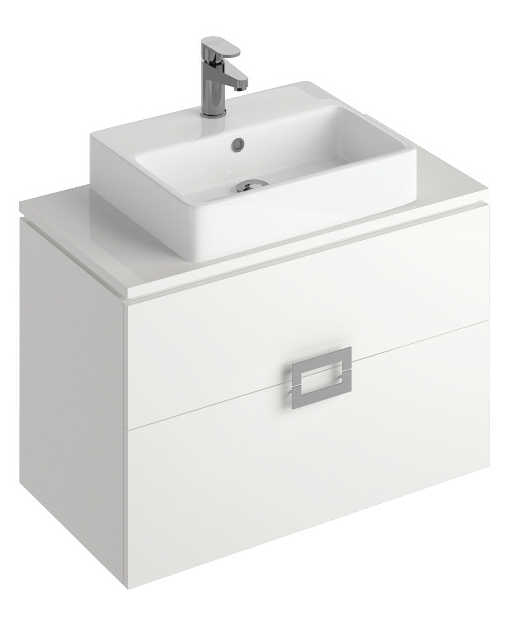 Ava White 80 cm Wall Hung Vanity Unit and BROOK Countertop Basin **A further 10% off with code BF10 at checkout