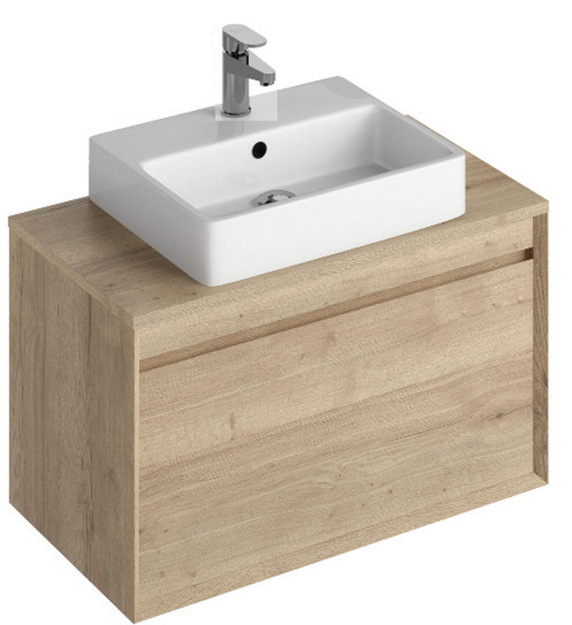 Regine 80cm Base Unit Halifax Oak & Brook Basin