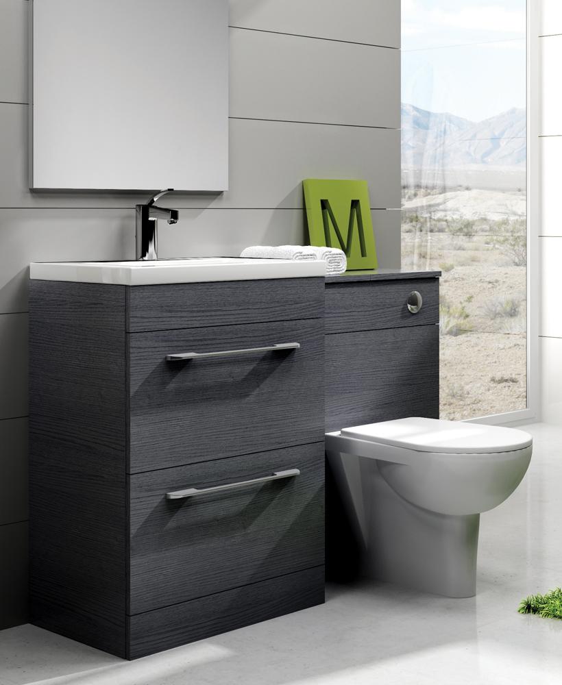 Carla Grey Slimline 60cm Combination Unit - 2 Drawer - 1215mm - with Toilet
