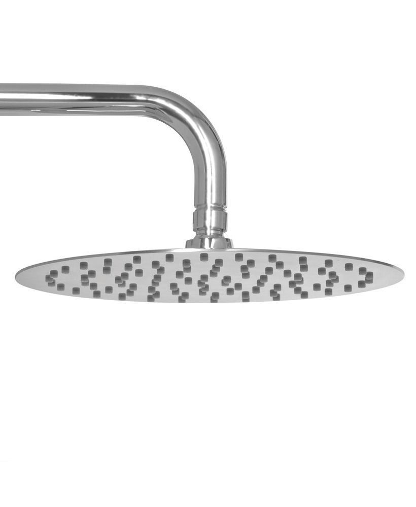 Caria Round 200 Shower Head & 300 Wall Shower Arm - Ultra Thin