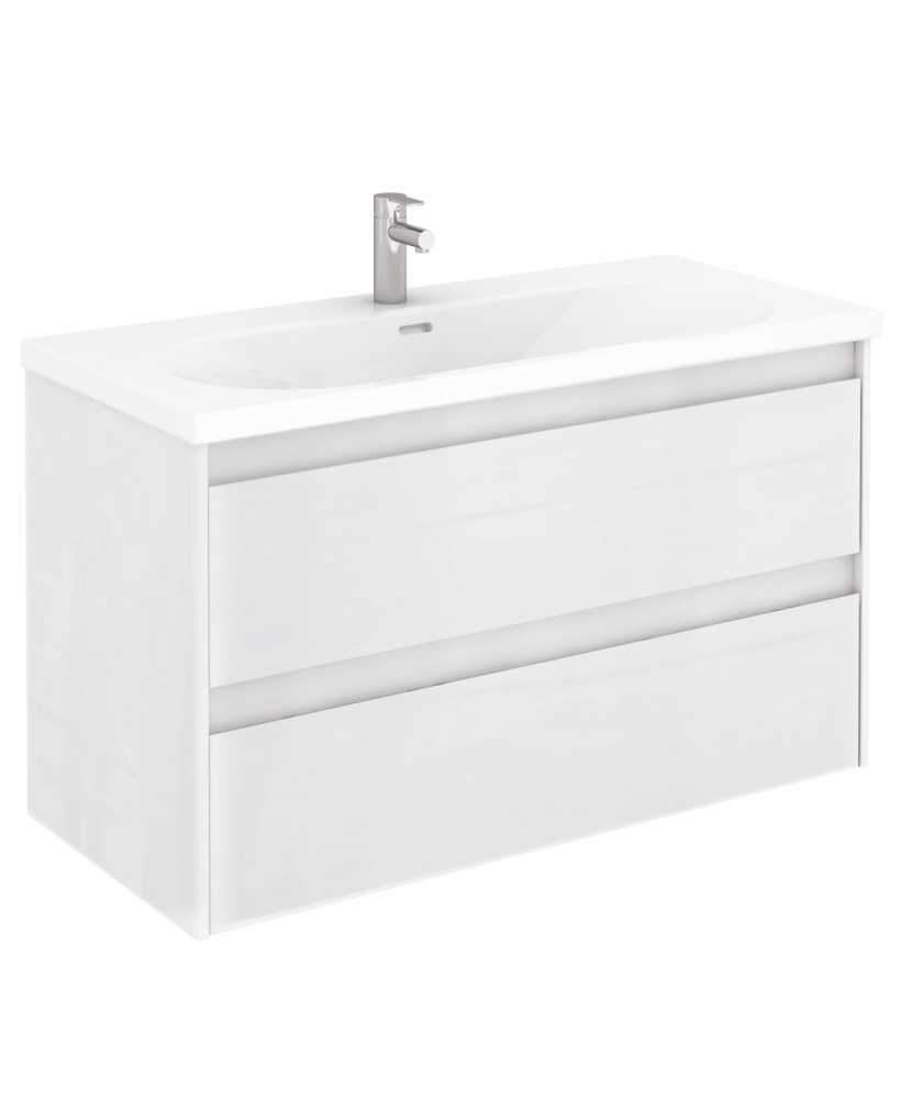 Vichy Gloss White 100 cm Wall Hung Vanity Unit and Aida Basin