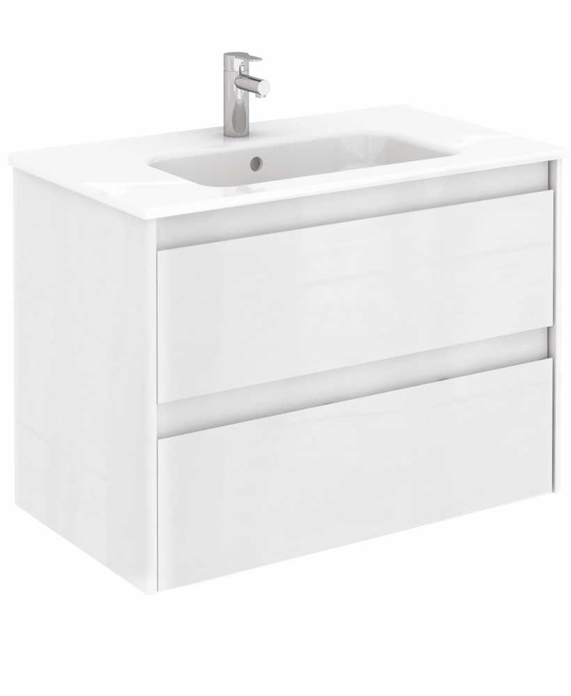 Vichy Gloss White 80 cm Wall Hung Vanity Unit and Slim Basin