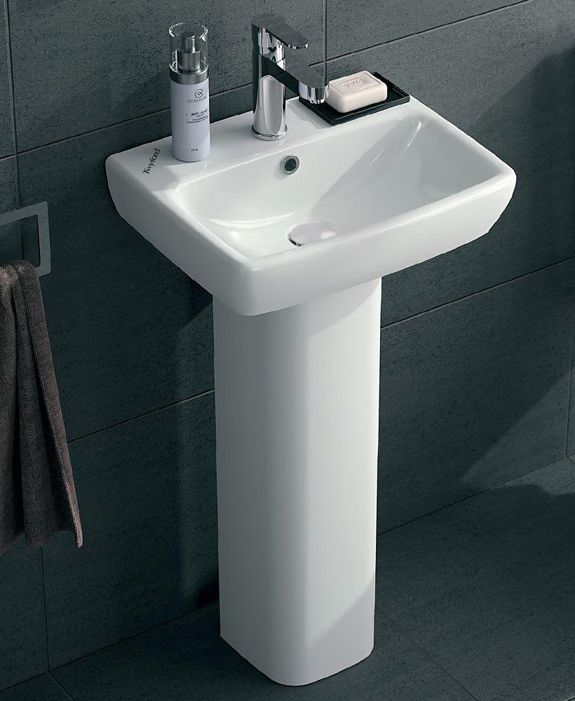 Twyford E100 Square 450 Basin & Pedestal