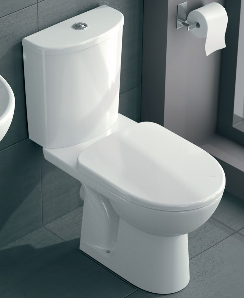 Twyford E100 Round Standard Close Coupled Toilet & Soft Close Seat