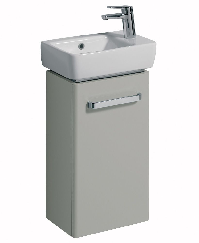 Twyford E200 400 Grey Vanity Unit and Basin Wall Hung with RH Tap
