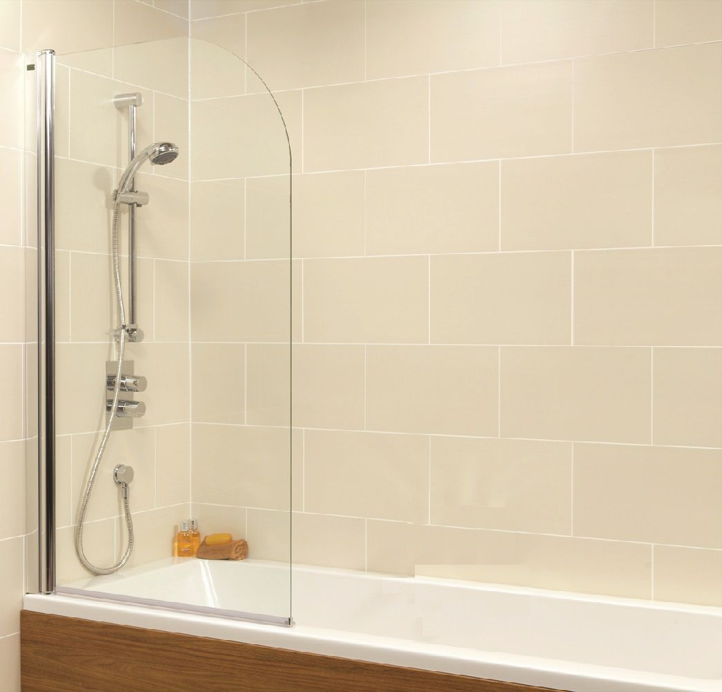 Duo Straight Single Ended 1700x750mm  Bath and Shower Screen with 6mm glass - Radius