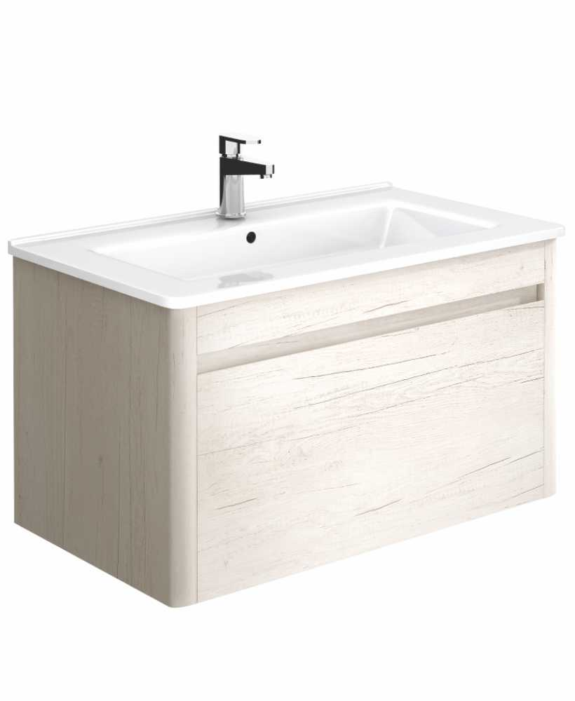 Elora 80 cm Light Wood Vanity Unit and Basin