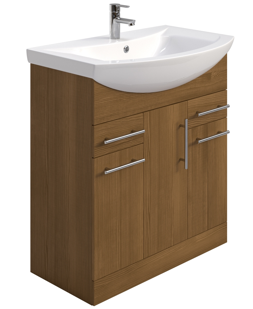 Blanco Walnut 75cm Vanity Unit, Basin