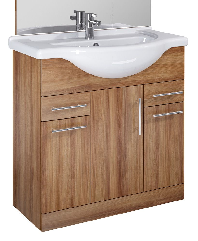 Blanco Walnut 85cm Vanity Unit, Basin
