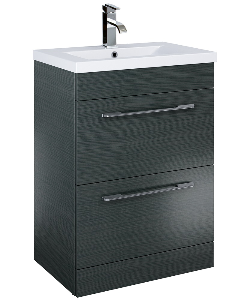 Carla 60cm Vanity Unit 2 Drawer Grey and Basin