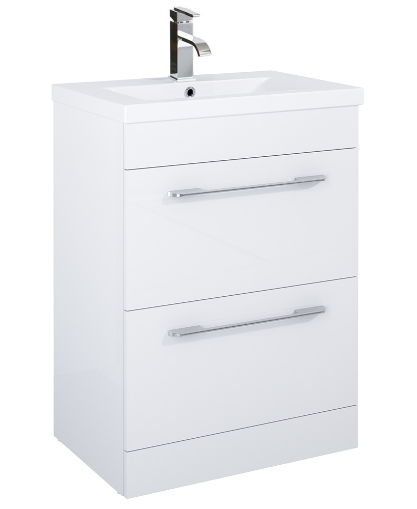 Carla 60cm Vanity Unit 2 Drawer White and Basin