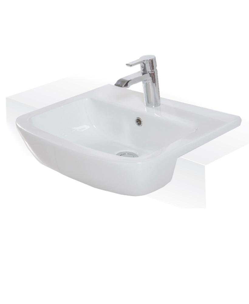 Monza 52cm Semi Recessed Washbasin 1TH