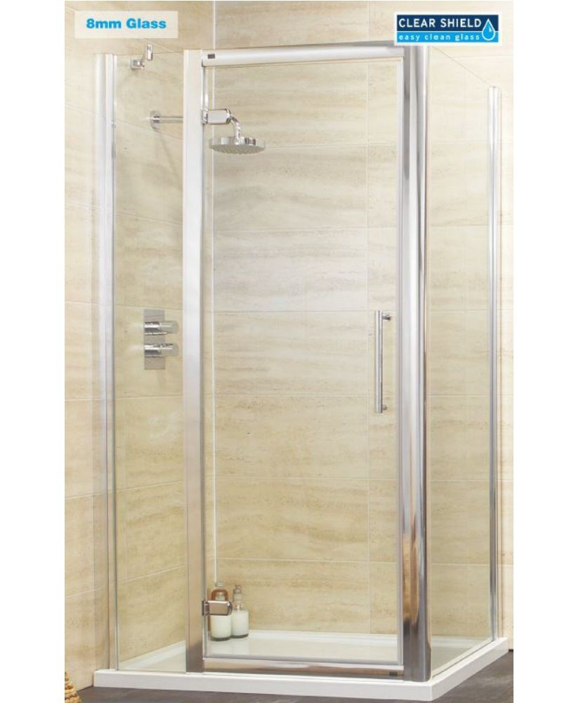 Rival 8mm 1000 Hinge Shower Door with Single Infill Panel & 1000 mm Side Panel
