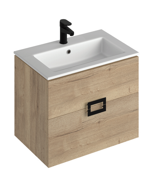 Ava Halilfax Oak 65 cm Wall Hung Vanity Unit and Basin