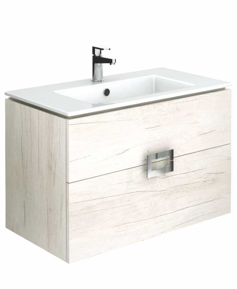 Ava Light Wood 80 cm Wall Hung Vanity Unit and Basin
