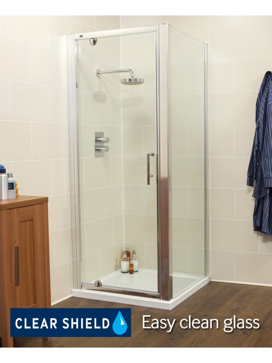 Kyra Range 760/800 x 800mm Pivot Shower Door - Adjustment with side panel 745 -800mm