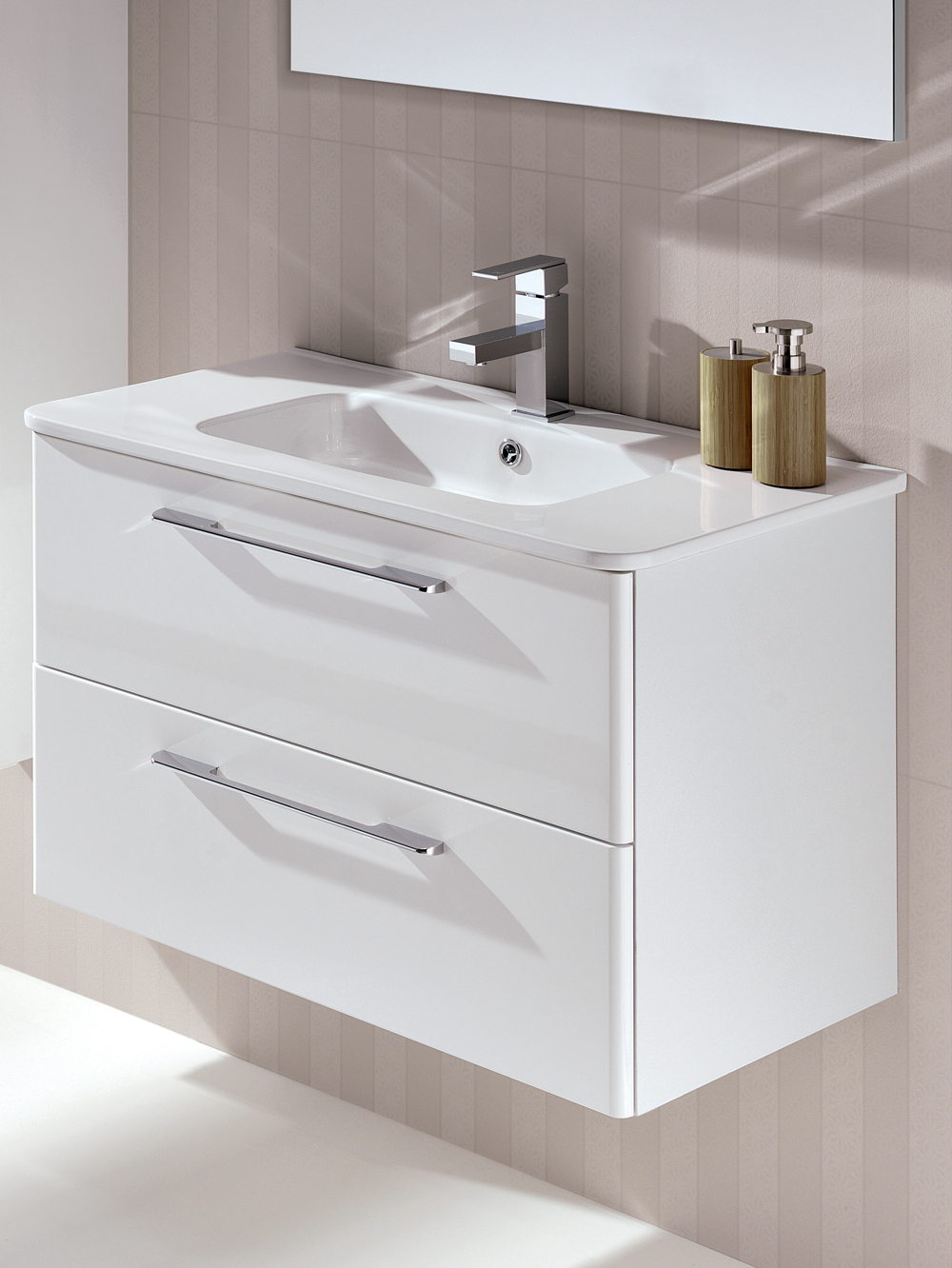 Ramia White 80cm Vanity Unit 2 Drawer and Basin