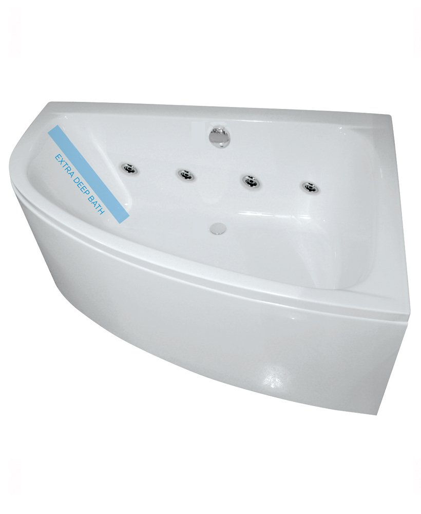Mayfair 1500 Offset Corner 8 Jet Whirlpool Bath Right Hand with Bath Panel