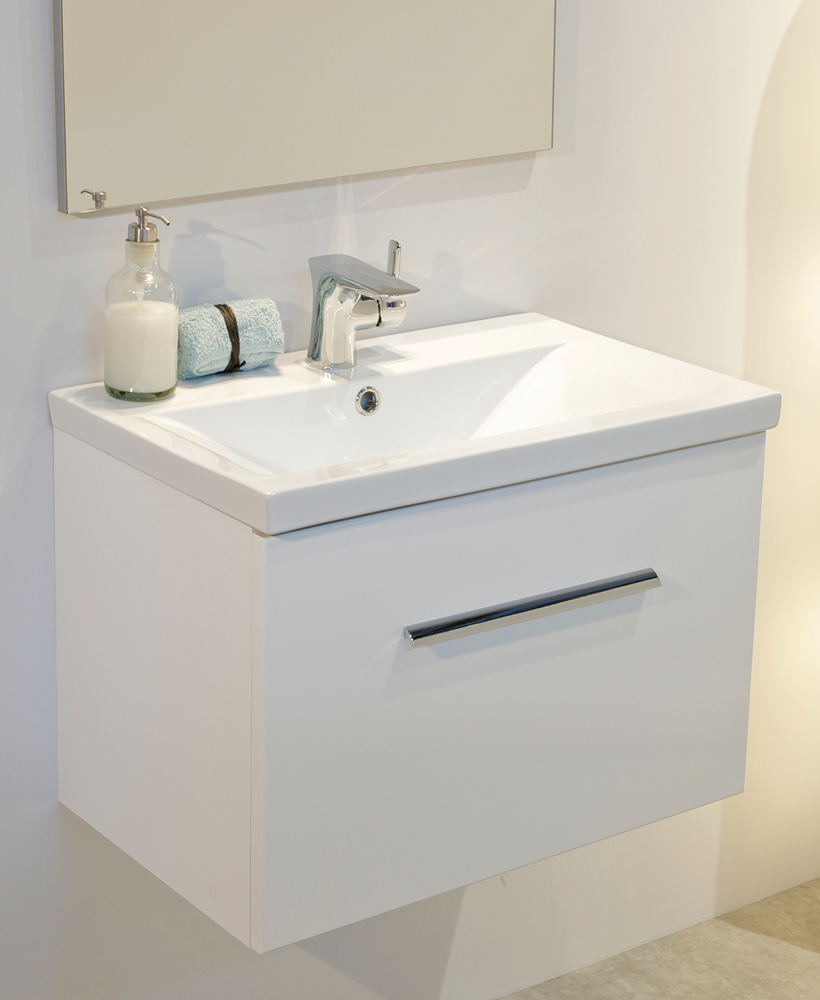 Vanore White Slimline 60cm Wall Hung Vanity Unit