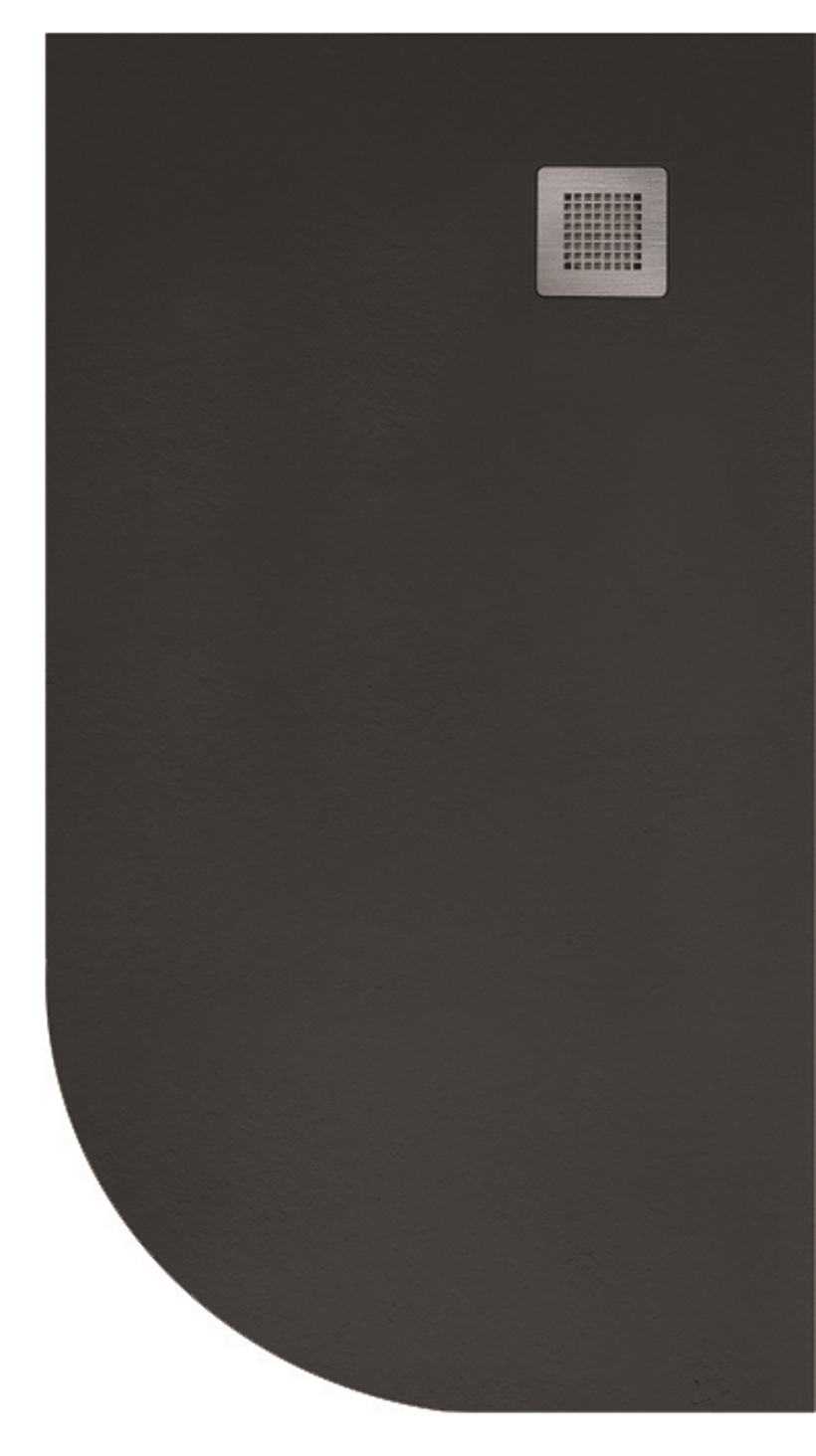 Slate 1200X800 Offset Quadrant Shower Tray RH Black - with FREE Waste