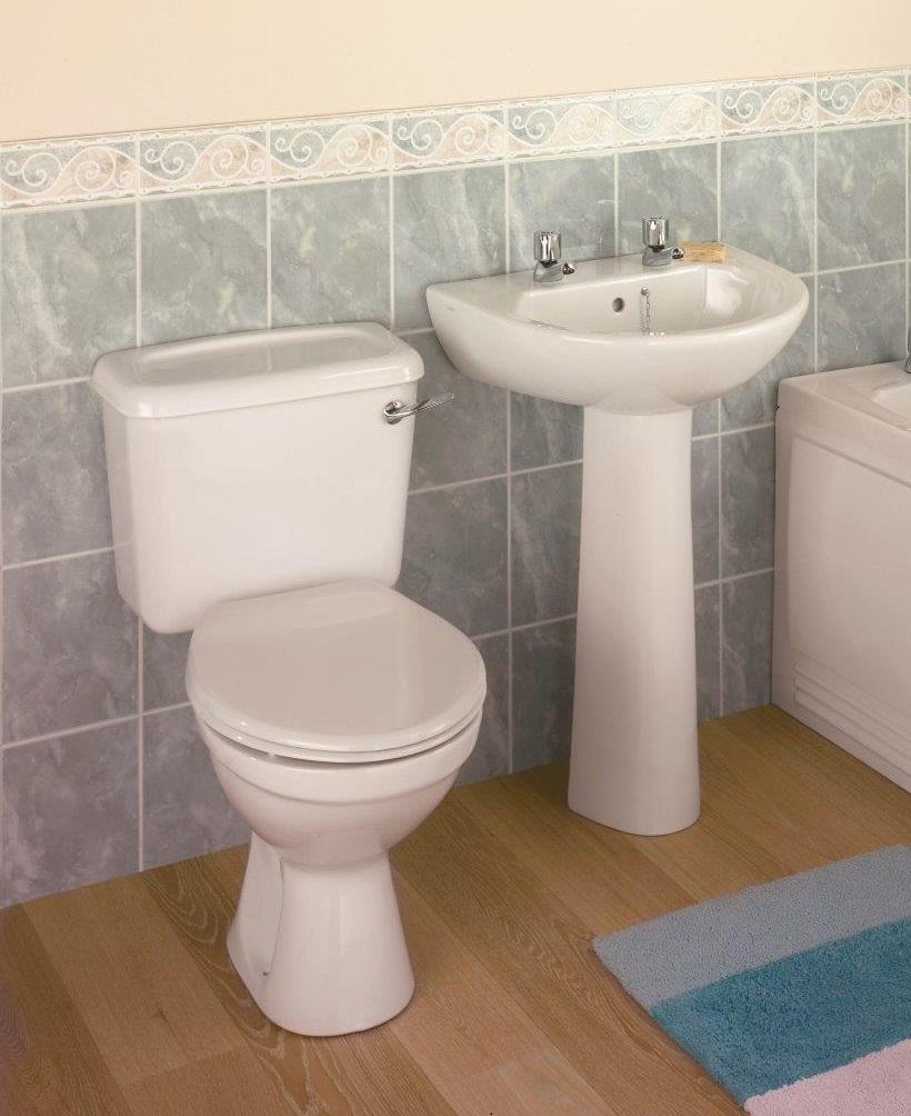 Twyford Option Lever Flush Toilet and Wash Basin Set