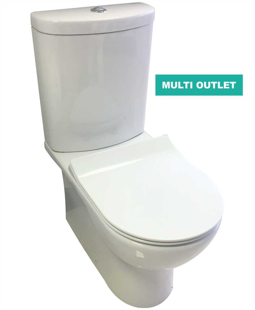 Nevada Fully Shrouded Toilet and SLIM Soft Close Seat - Multi Outlet