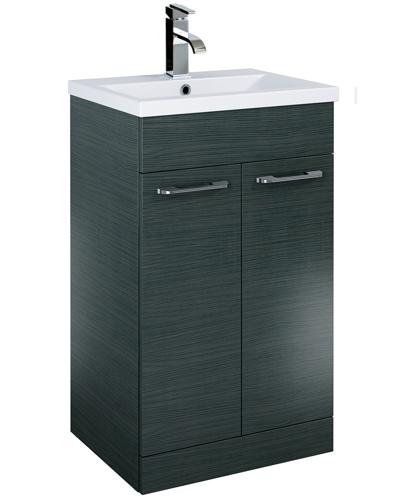 Paola 50cm Slimline Vanity Unit 2 Door Grey and Basin