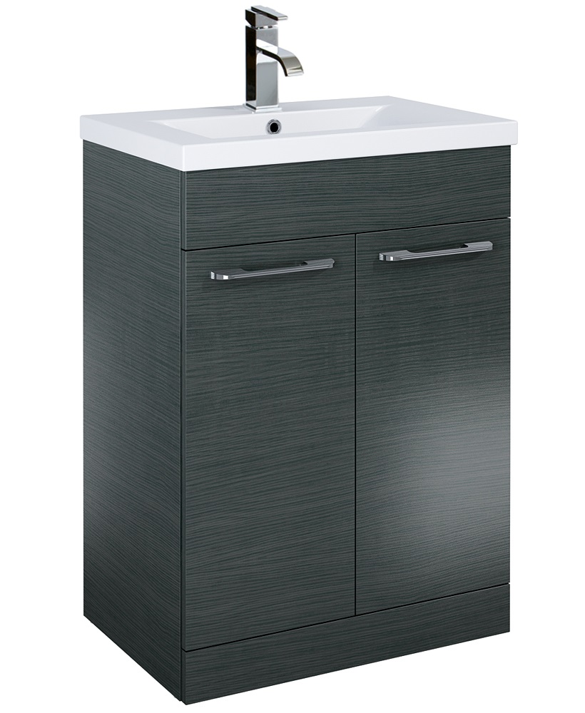Paola 60cm Slimline Vanity Unit 2 Door Grey and Basin