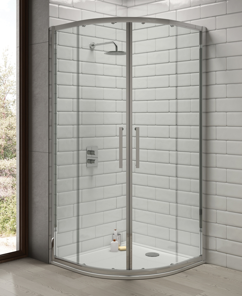 Rival 8mm 900 Quadrant Two Door Shower Enclosure - 850 - 880 mm