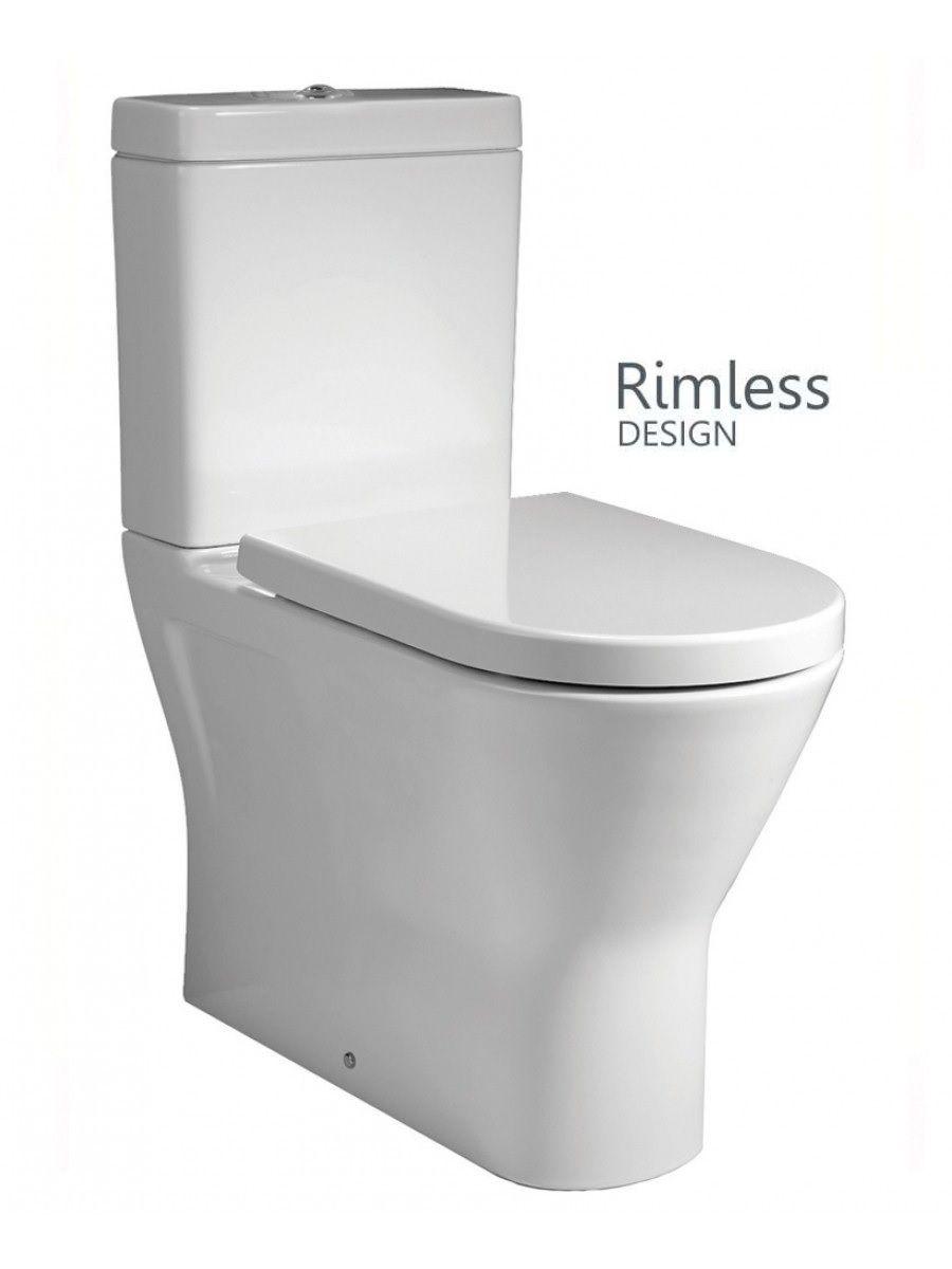 Resort Close Coupled Fully Shrouded RIMLESS Toilet & Soft Close Seat