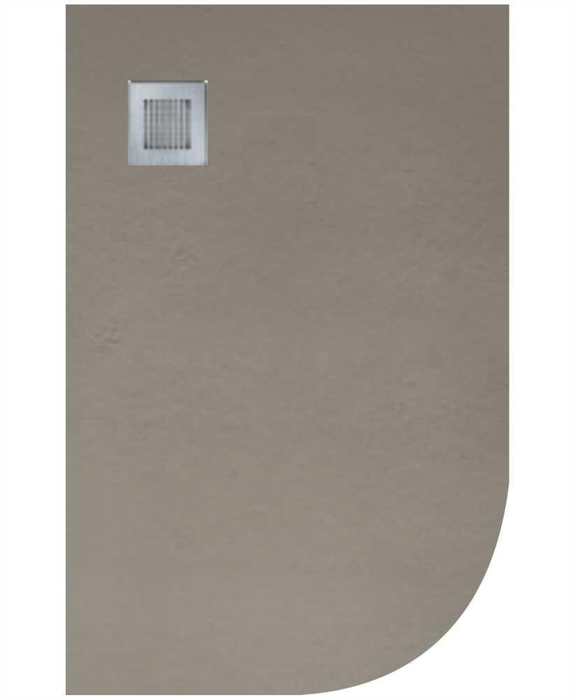 Slate 1000x800 Offset Quadrant Shower Tray LH Taupe - Anti Slip