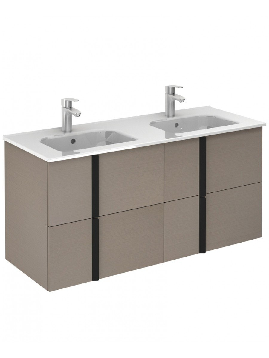 Athena Smokey Grey Wall Hung 120 Vanity Unit and SLIM Basin - 4 Drawer