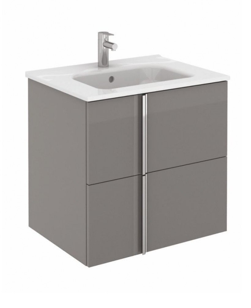 Athena 60cm Gloss Grey Vanity Unit with SLIM Basin - Drawers