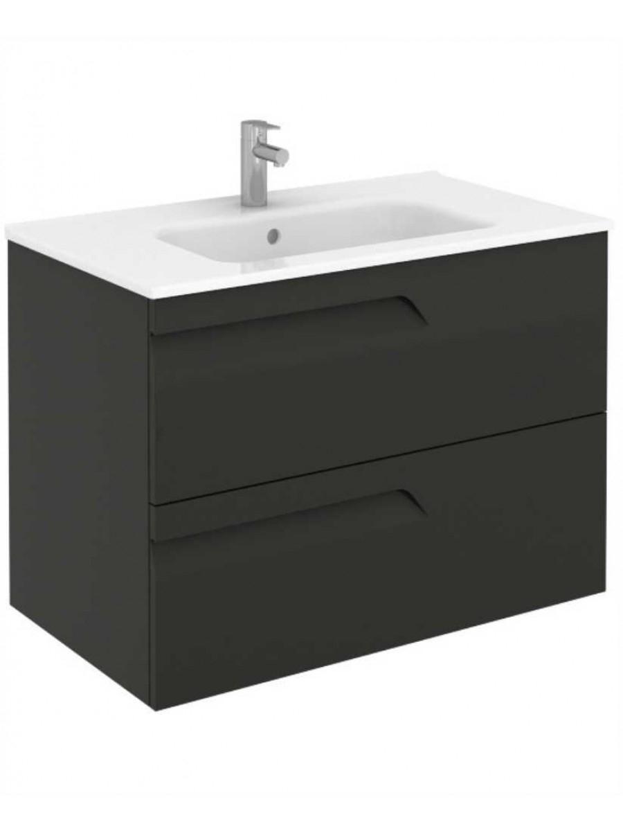 Pravia Gloss Grey 80 cm Wall Hung Vanity Unit and SLIM Basin - 60% off
