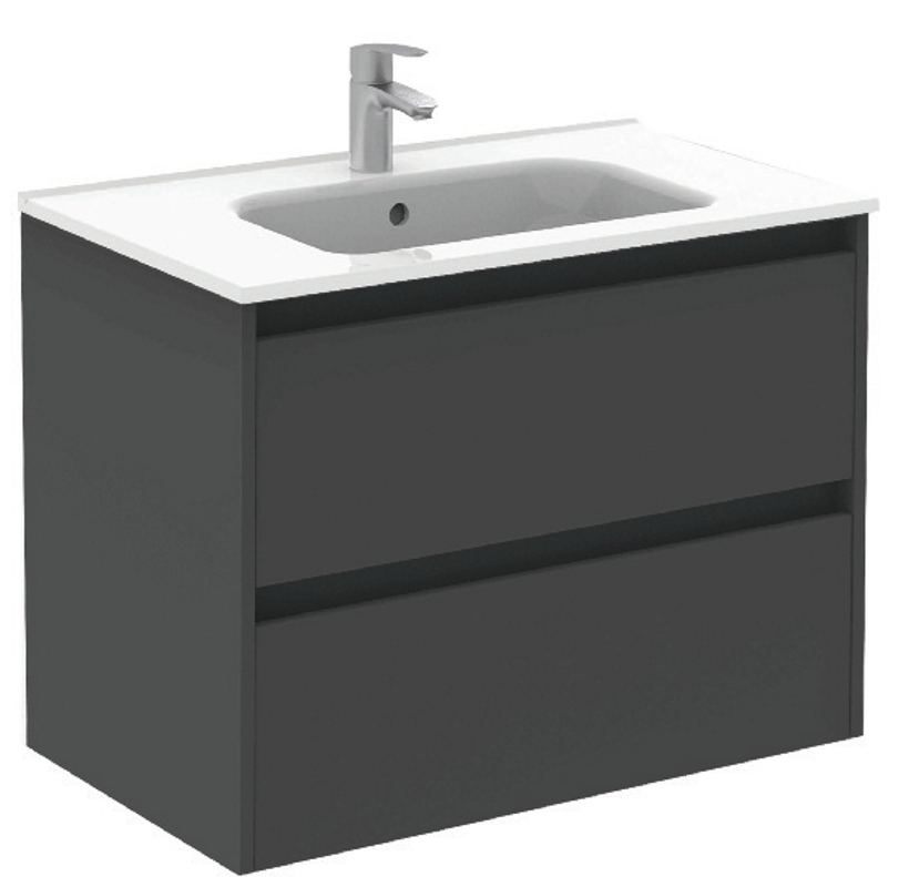 Sparta Anthracitte 80cm Vanity Unit 2 Drawer & Slim Basin