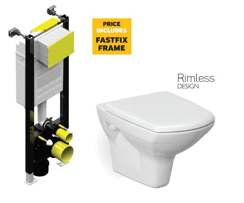 Nanuna Rimless Wall Hung Toilet with Horizontal Outlet and Soft Close Seat with Fastfix Frame