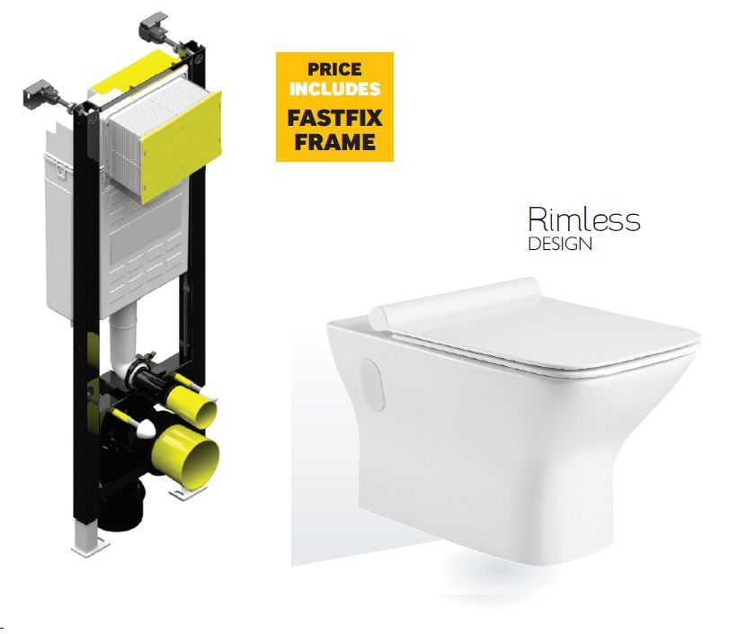 Caymen Wall Hung RIMLESS Toilet with Quick Release Soft Close SLIM Seat and Fast Fix Frame