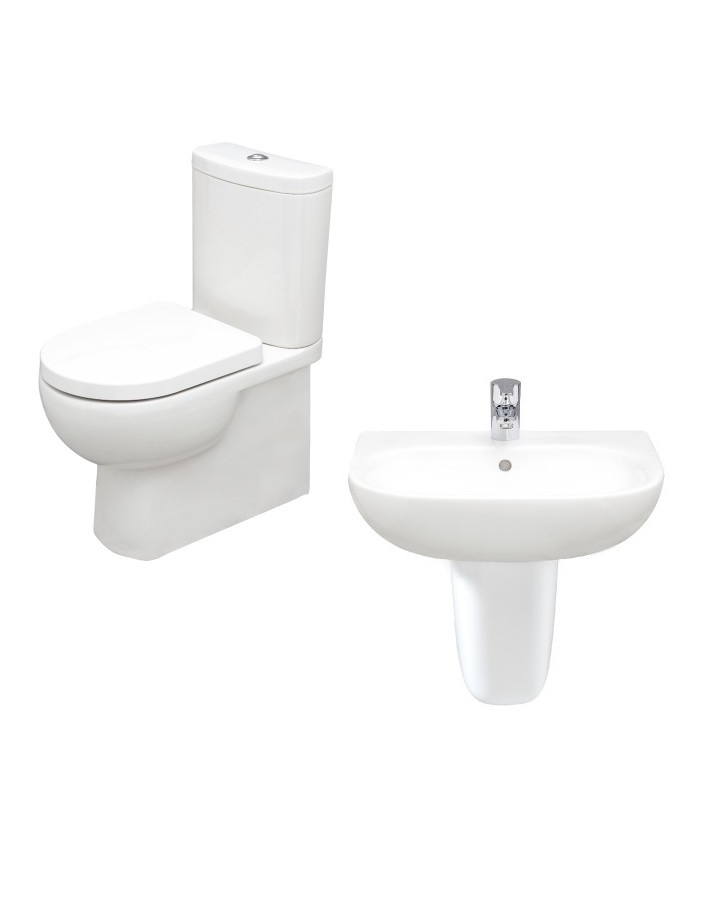 RAK Tonique Toilet and Washbasin Set with Semi Pedestal Basin