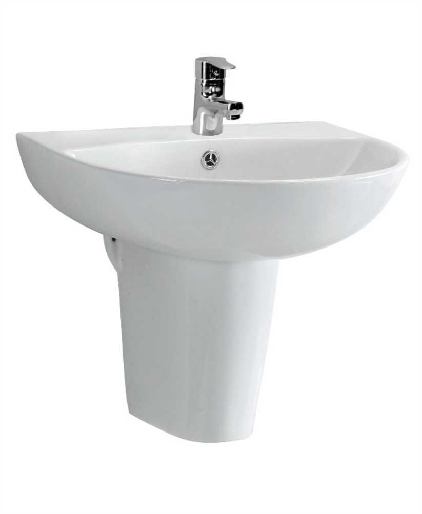Veronica 55 cm Basin and Semi Pedestal 1 Tap Hole