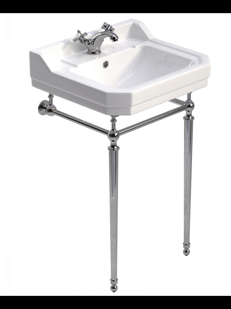 Norbury 55cm Wash Basin & Chrome Washstand, 1 tap hole