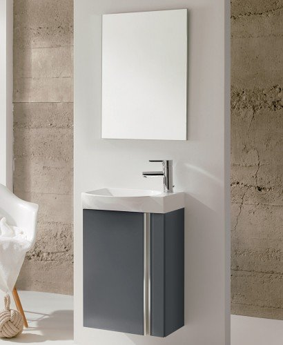 Bern 45 cm Gloss Grey Wall Hung Vanity Pack with Mirror