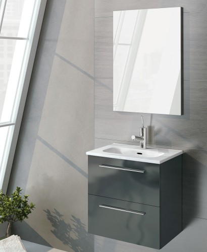 Zurich 50 cm Gloss Grey Vanity Pack with Mirror - Drawers