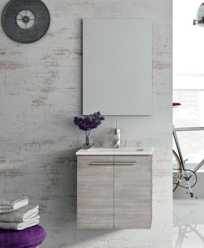 Zurich 50 cm Sandy Grey Vanity Pack with Mirror - Doors