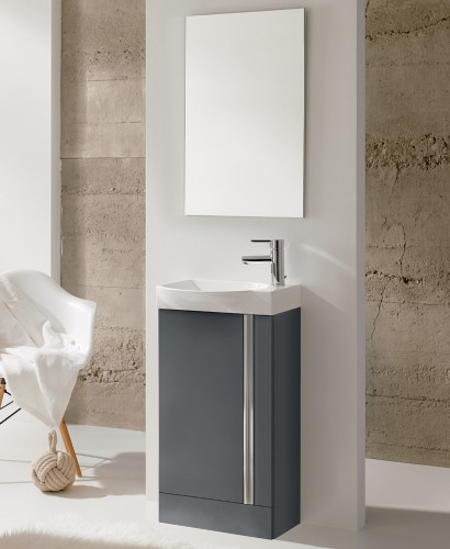 Bern 45 cm Gloss Grey Floor Standing Vanity Pack with Mirror