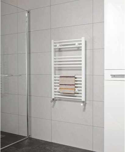 Straight White Heated Towel Rails