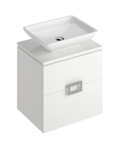 Ava White 55 cm Wall Hung Vanity Unit and AIMEE Countertop Basin